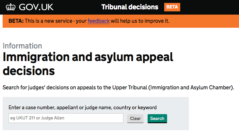 Immigration and asylum appeal decisions screenshot