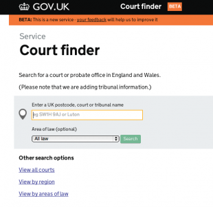 Court finder home page