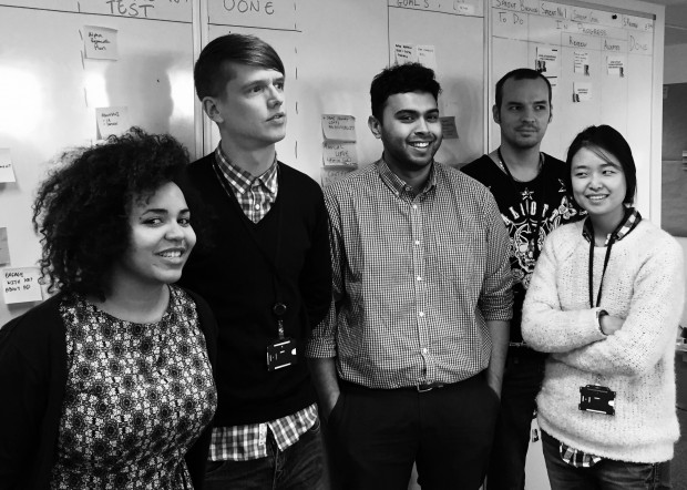 Meet the team working on the new intranet: (left to right) Kamala Hamilton-Brown (delivery manager), Matt Davis  (content designer), Tarakul Abedin (product manager), Marcin Cichon (developer), Amy Lee (UX designer)