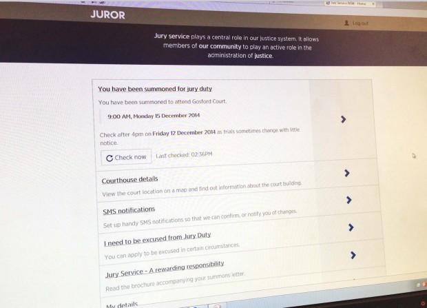 Checking jury status online
