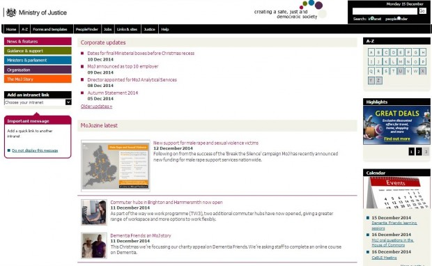 The existing intranet homepage