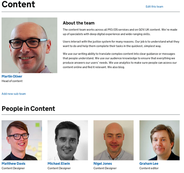 An example of a team page. All pages can be edited by anyone, allowing the new people finder to be more easily maintained.