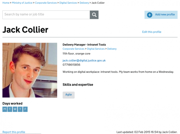A profile of a member of staff on the new people finder tool