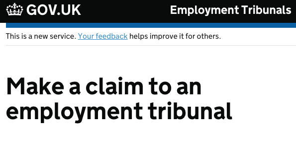 Employment tribunal service screenshot