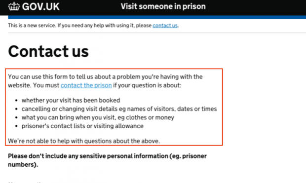 Version B - the new version of the page, with revised text; this now refers to contacting the prison earlier on, before the bullet points.