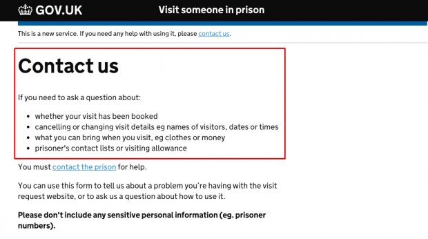 Version A - the original version of the 'contact us' page on the prison visits booking service