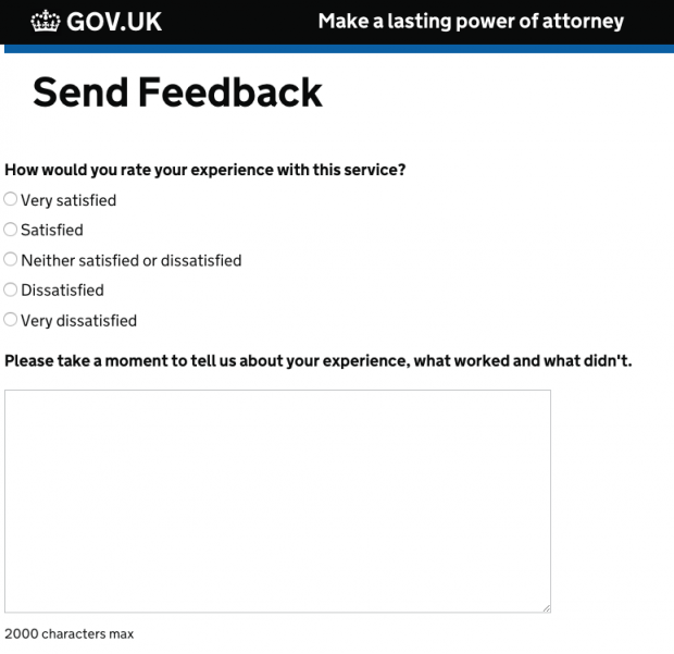 Screenshot of the feedback form on the lasting power of attorney service