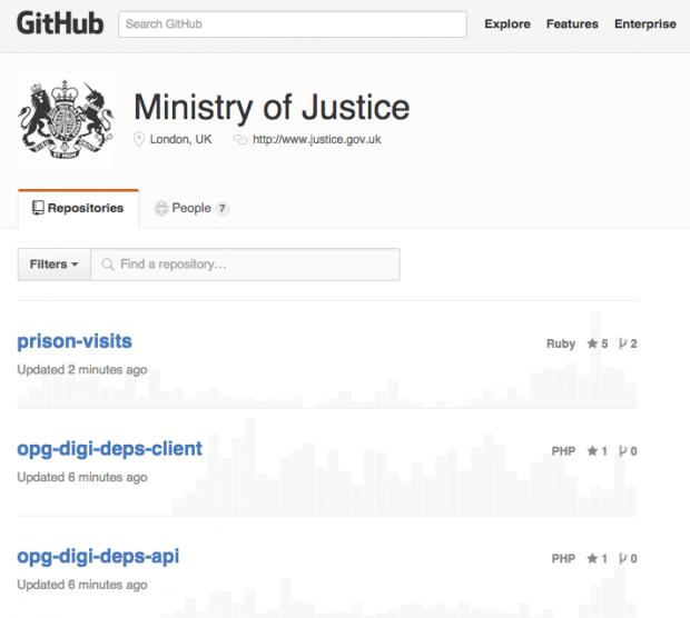 MOJ Digital repositories on GitHub
