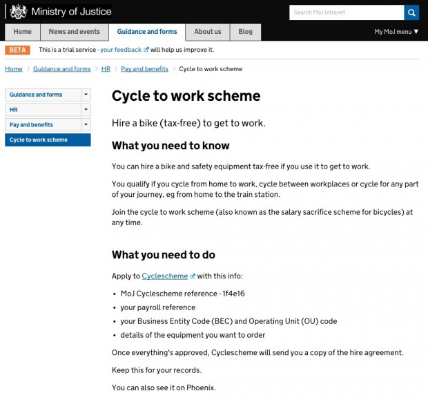 One of the guidance pages on the new intranet