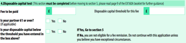 Question 4 on the 'application for fee remission' form