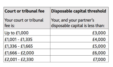 Extract of guidance showing 'disposable capital thresholds'