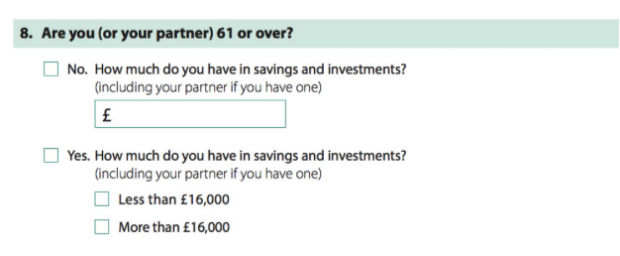 An additional question about savings when applicants have more than £3000