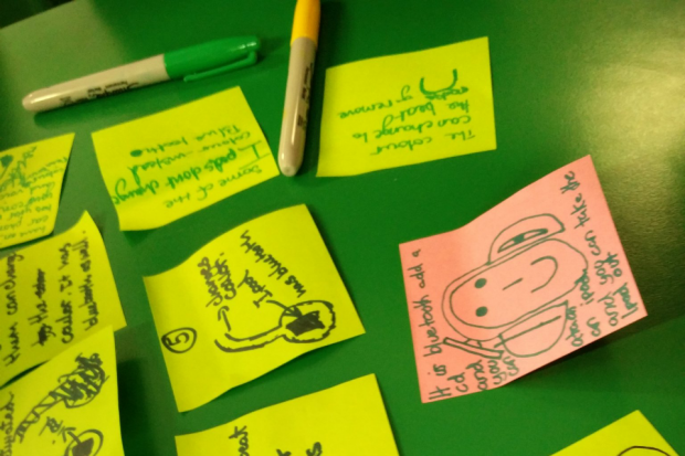 Post it notes with ideas and pens