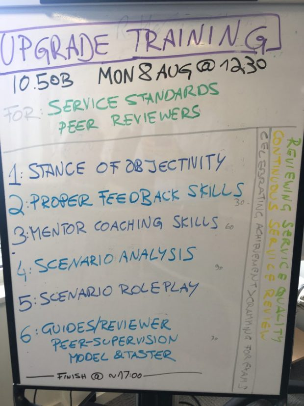 Peer reviewer training agenda on flip chart.