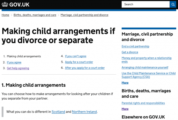 Screenshot of the 'Making Child Arrangements if you divorce or separate' page on GOV.UK