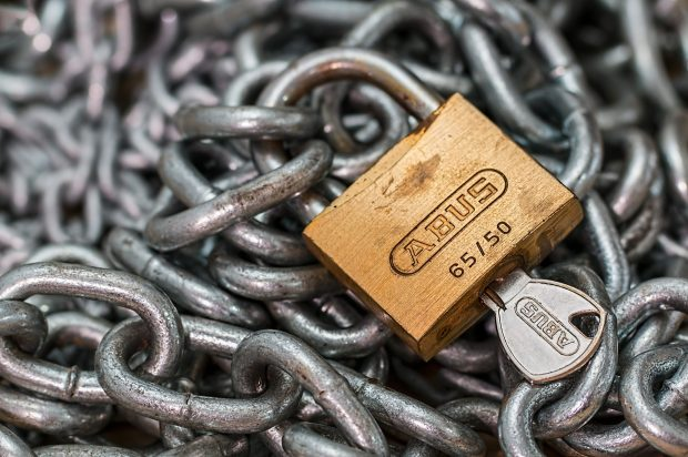 Chain with a padlock and key
