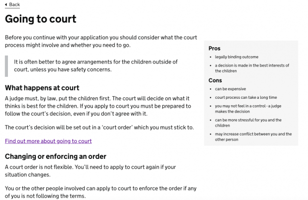 Screenshot of the GOV.UK Going to court page